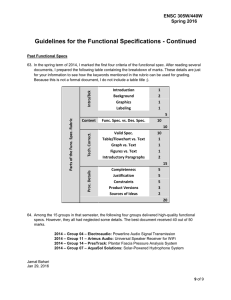 Guidelines for the Functional Specifications