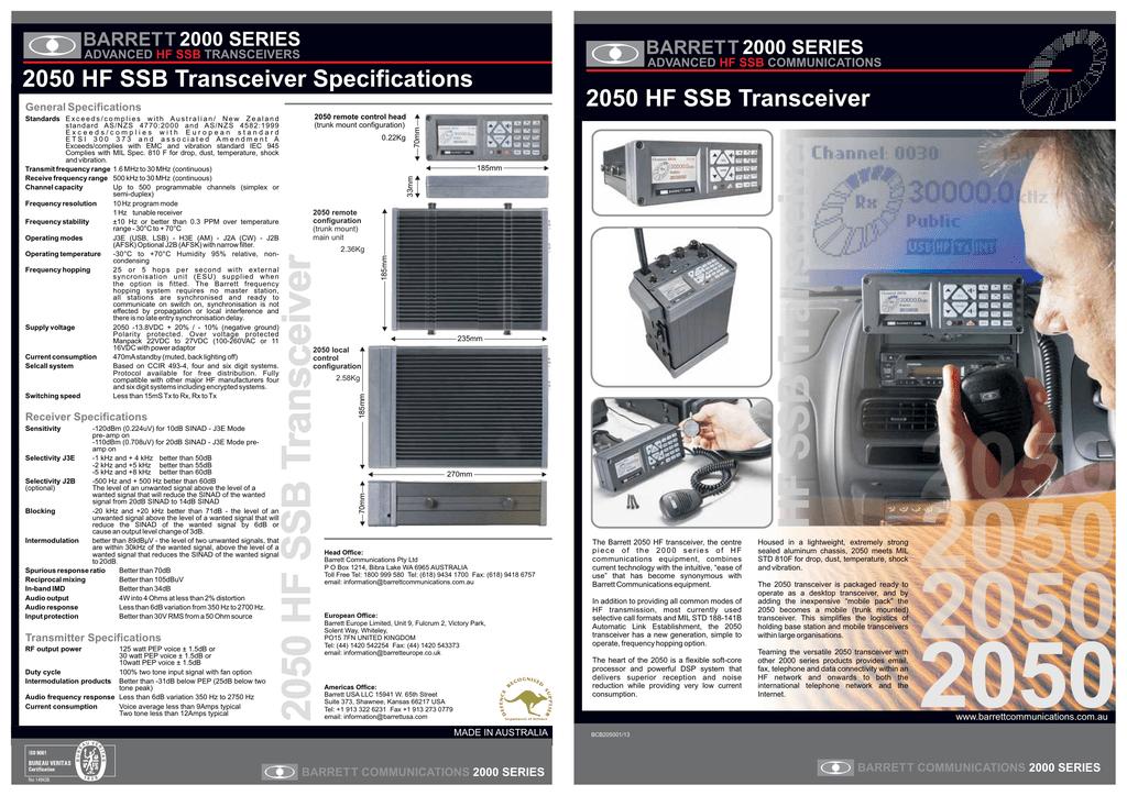 2050 HF SSB Transceiver Specifications 2050 HF SSB Transceiver