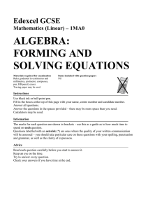 algebra: forming and solving equations