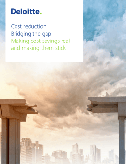 Cost reduction: Bridging the gap - Making cost savings real