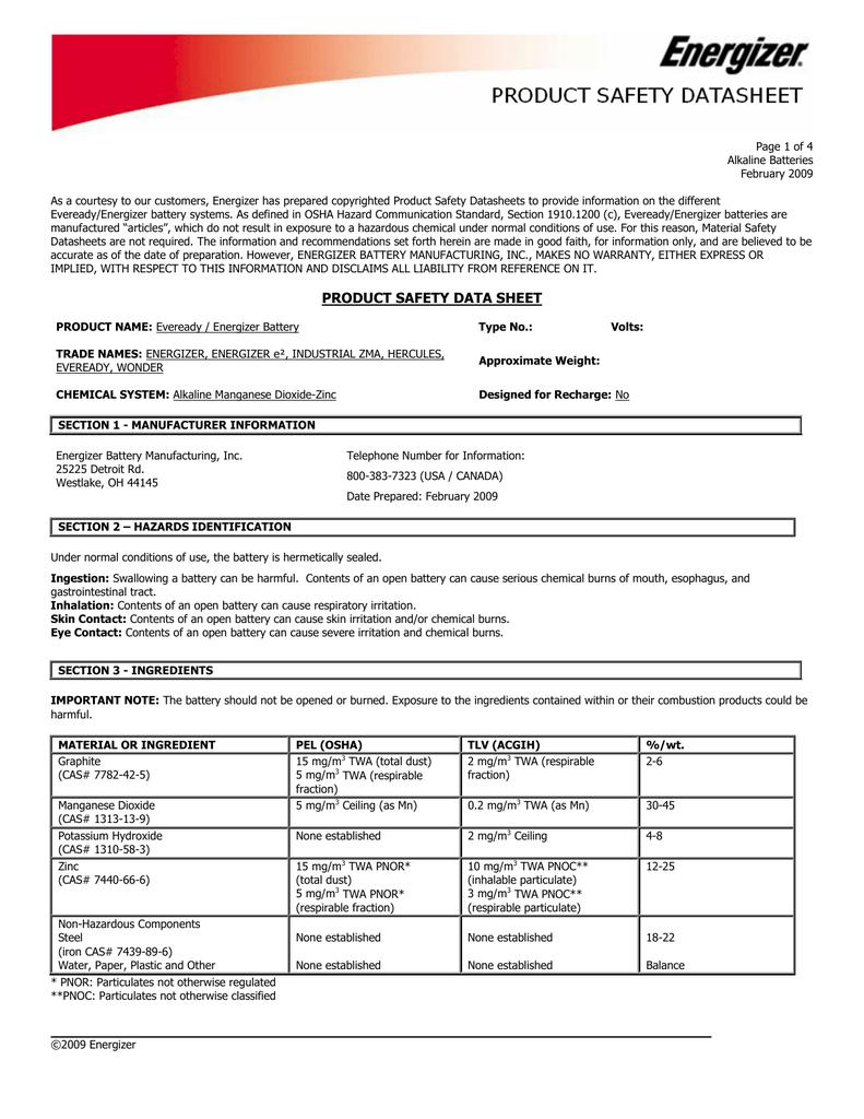 Msds Sheet For Dpg1000b Aa Alkaline Battery