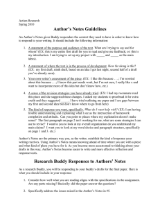 Author`s Notes Guidelines