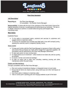 Plant Area Assistant Job Description Reporting to