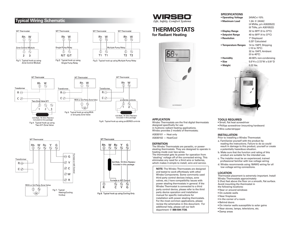 specifications • operating voltage • maximum load typical wiring schematic  thermostats for radiant heating • display range • setpoint range •  resolution