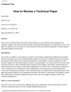 How to Review a Technical Paper