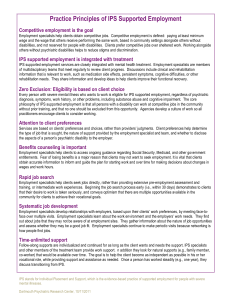 Practice Principles of IPS Supported Employment