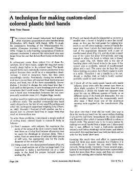 A technique for making custom-sized colored plastic bird bands