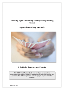 Teaching Sight Vocabulary and Improving Reading Fluency A