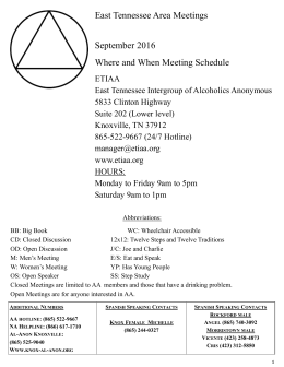 meeting list - East Tennessee Intergroup Of Alcoholics Anonymous