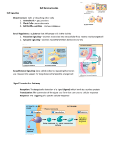 Cell Communication Cell Signaling Direct Contact: Cells are