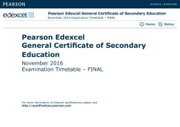 GCSE November 2016 Final timetable - Edexcel