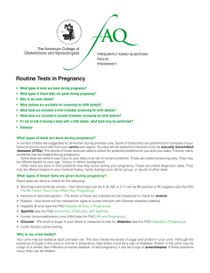 FAQ133 -- Routine Tests in Pregnancy