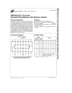 DM74ALS137 3 to 8 Line Decoder/Demultiplexer with Address