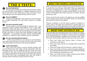THE 5 TESTS: - London Coalition Against Poverty