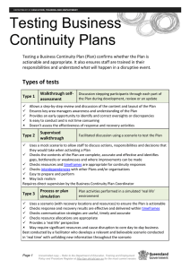 Testing Business Continuity Plans Factsheet and Checklist