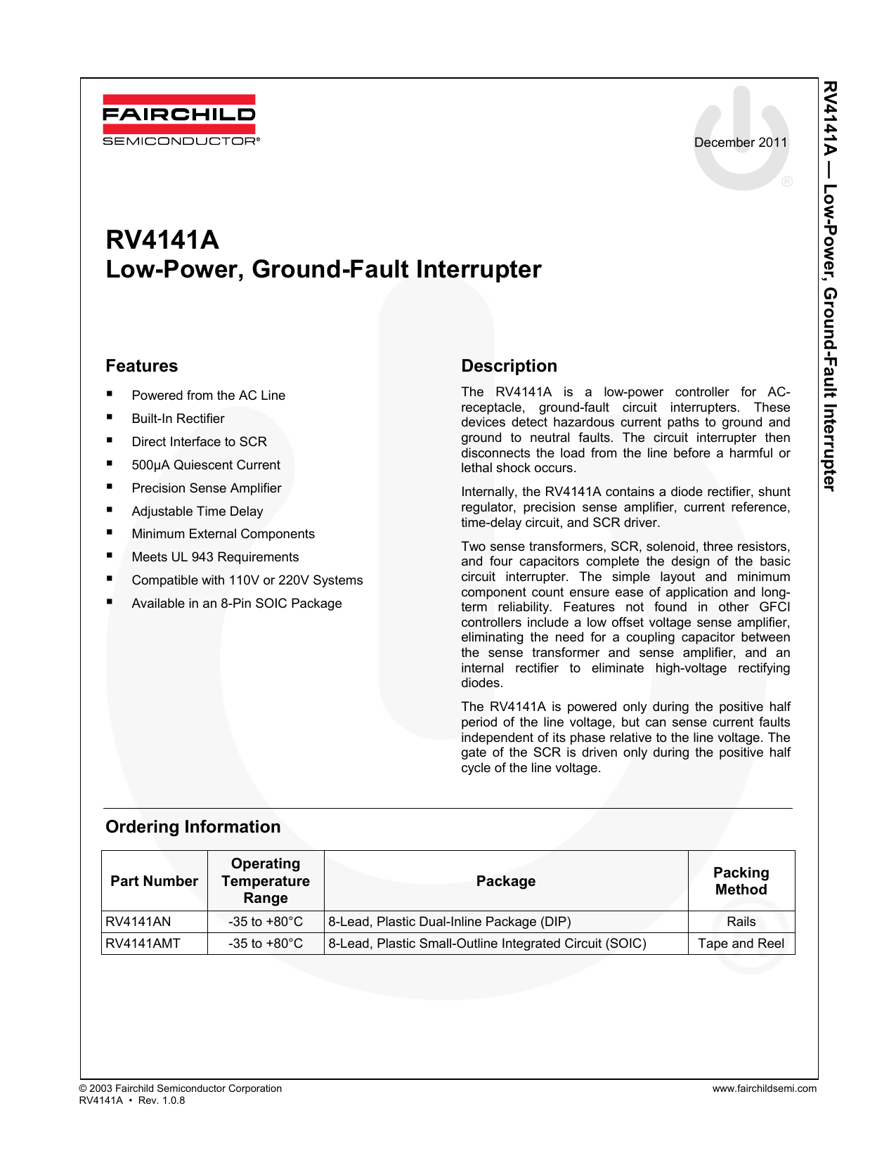 Rv4141a Low Power Ground Small Outline Integrated Circuit