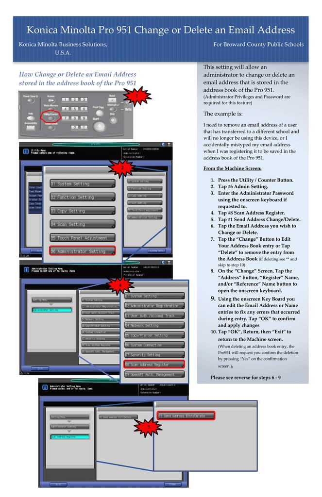 Konica Minolta Pro 951 Change or Delete an Email Address