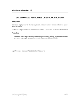 unauthorized personnel on school property