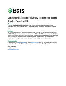 Bats Options Exchange Regulatory Fee Schedule Update Effective