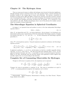 Chapter 10 The Hydrogen Atom The Schrodinger Equation in