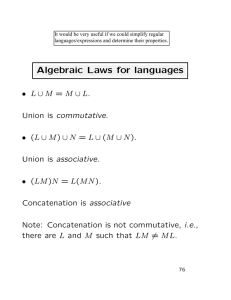 Algebraic Laws for languages
