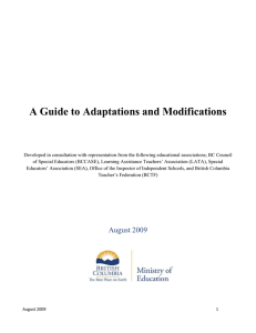 A Guide to Adaptations and Modifications