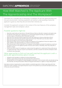 How Well Matched Is The Applicant With The Apprenticeship And