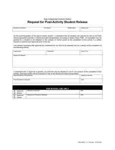 Request for Post-Activity Student Release