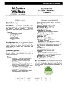 PRODUCT DATA SHEET MATCH POINT INTERIOR LATEX FLAT