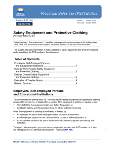 (PST) Bulletin Safety Equipment and Protective Clothing