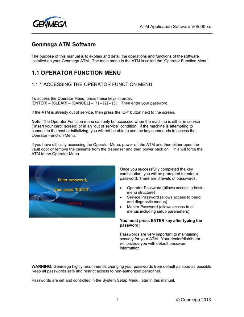 Genmega ATM Software 1 1 OPERATOR FUNCTION MENU