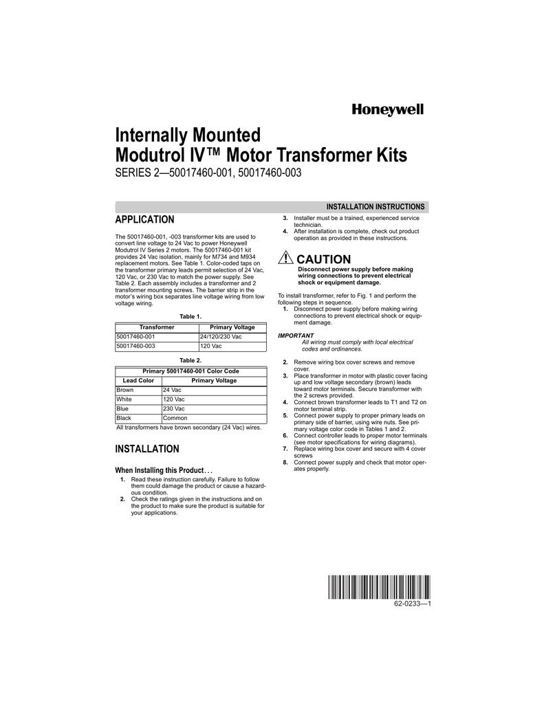 62 0233 1 Internally Mounted Modutrol Iv Motor Transformer Kits 120vac Disconnect Wiring