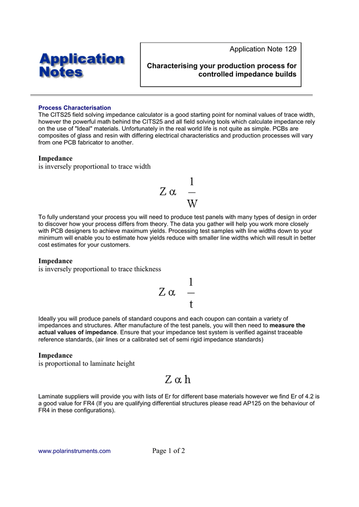 Page 1 of 2 Impedance is inversely proportional to trace width