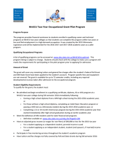 MnSCU Two-Year Occupational Grant Pilot Program