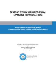 (PWDs) STATISTICS IN PAKISTAN 2012