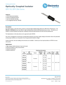 Optically Coupled Isolator OPI110, OPI1264 Series