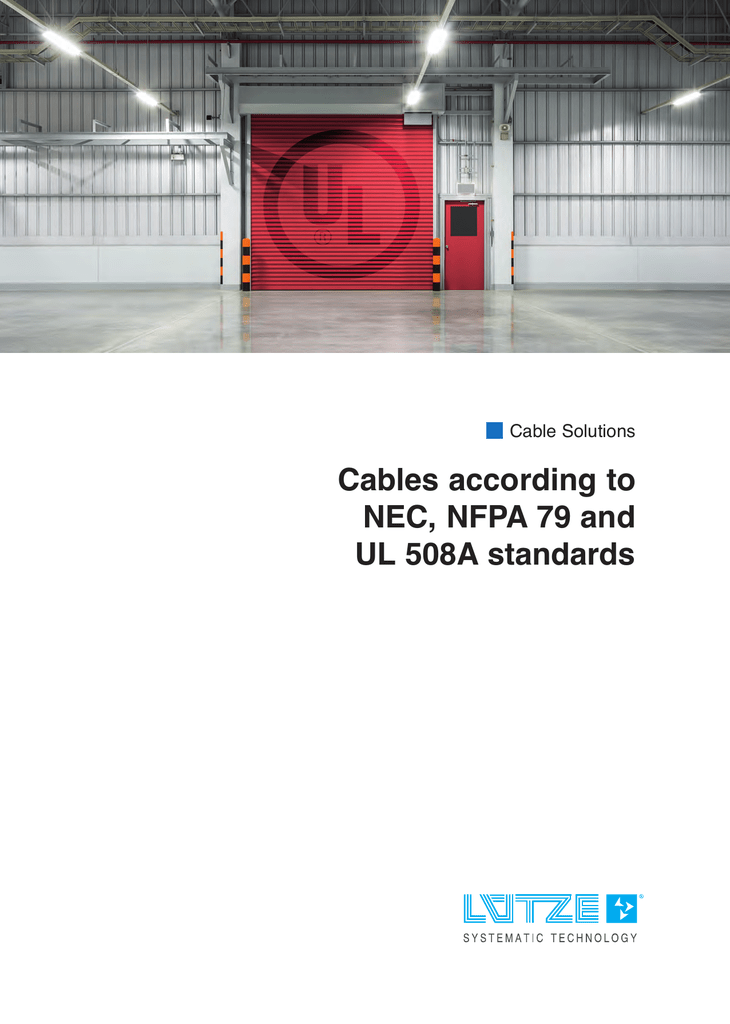 Cables according to NEC, NFPA 79 and UL 508A standards