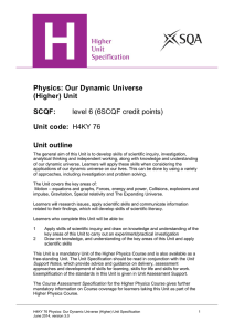 Physics: Our Dynamic Universe (Higher)