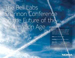 The Bell Labs Shannon Conference on the Future of the