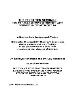 the first ten seconds - The Hendricks Institute