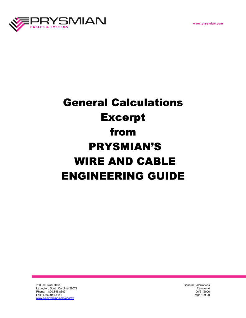 General Calculations Excerpt from PRYSMIAN`S WIRE AND CABLE