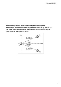 The drawing shows three point charges fixed in place. The charge at