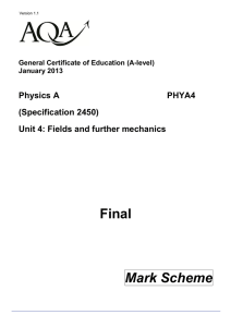 A-level Physics A Mark scheme Unit 04 - Fields and Further