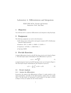 Laboratory 4: Differentiators and Integrators
