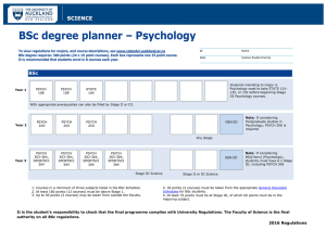 BSc degree planner – Psychology