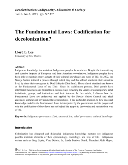 The Fundamental Laws: Codification for decolonization?