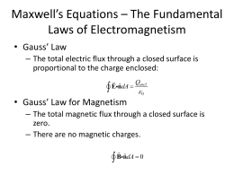Maxwell`s Equations – The Fundamental Laws of Electromagnetism