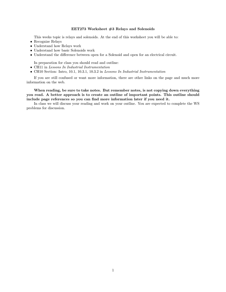 Eet273 Worksheet 3 Relays And Solenoids This Weeks Topic Is Lessons In Electrical Circuit