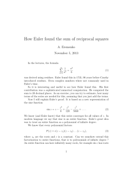 How Euler found the sum of reciprocal squares