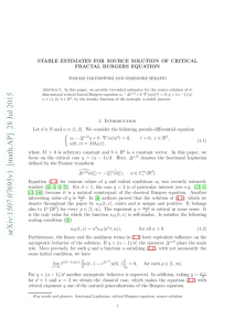 Stable estimates for source solution of critical fractal Burgers equation